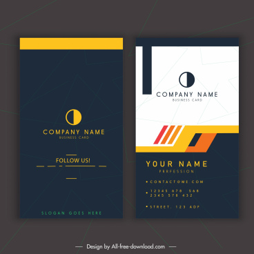 business card template simple dark bright modern decor