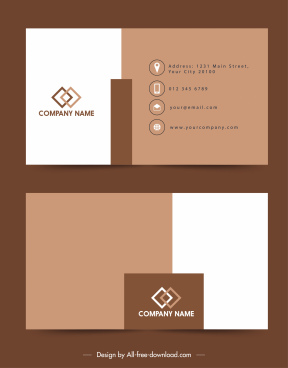 business card template simple dark brown white decor