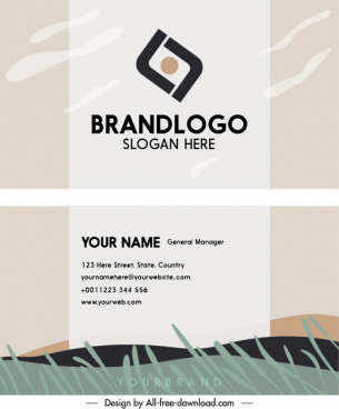business card template simple flat bright nature sketch