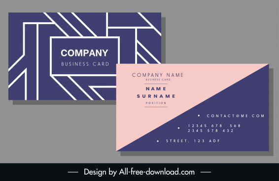 business card template simple flat pink violet decor