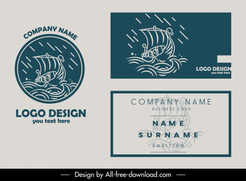 business card template stormy sea logotype dynamic handdrawn