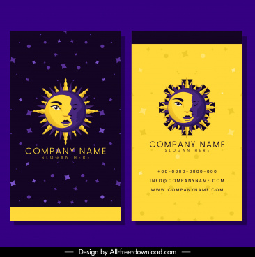 business card template stylized moon sun icon decor