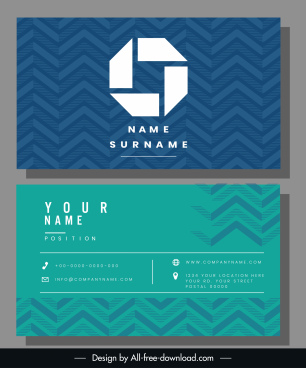 business card template technology abstract blue green decor