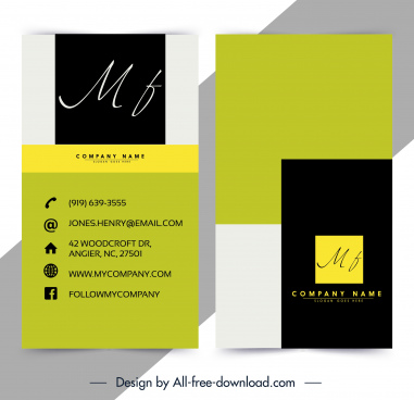 business card template texts decor simple plain contrast