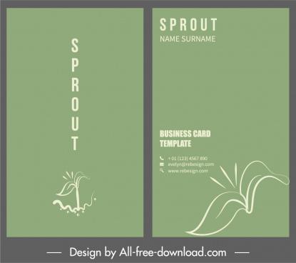 business card template tree bud sketch plain decor