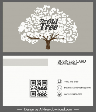 business card template tree sketch retro plain decor