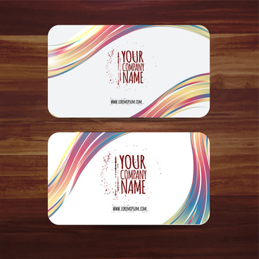 business card template vector illustration with colorful curves