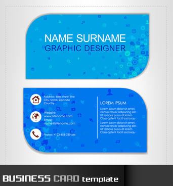 business card template with modern blue background