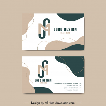 business card templates abstract curves decor text logotype