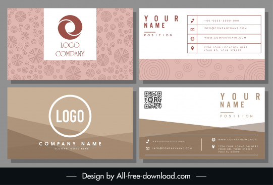 business card templates abstract pink brown decor