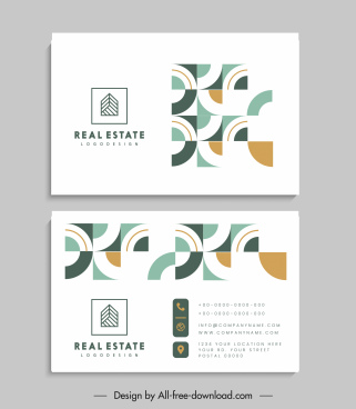 business card templates bright abstract geometric elements