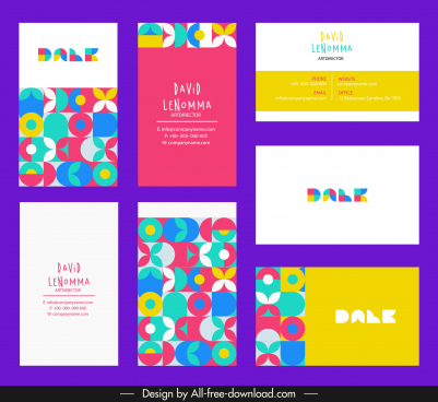 business card templates bright colorful flat abstract decor