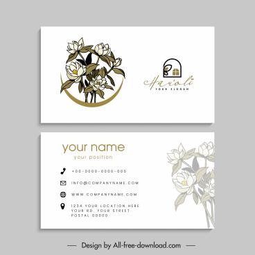 business card templates bright design retro handdrawn floral