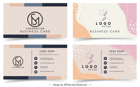 business card templates classical simple plant decor
