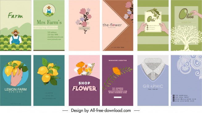 business card templates collection colored flat classic sketch