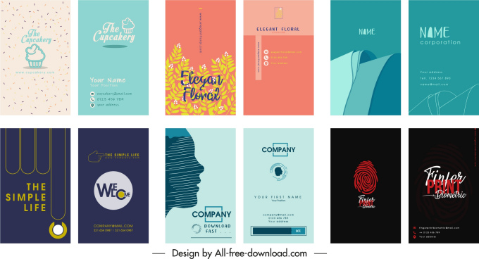 business card templates collection flat classic decor