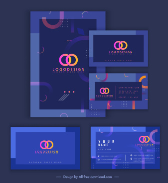 business card templates colored modern blurred curves decor
