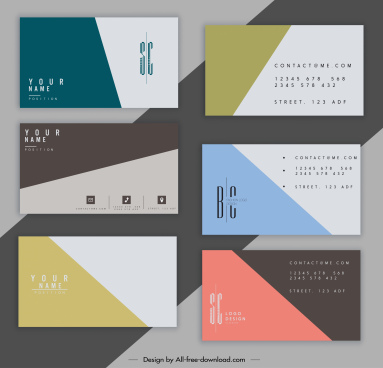 business card templates colored plain classical simple decor