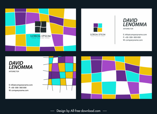 business card templates colorful abstract deformed squares sketch