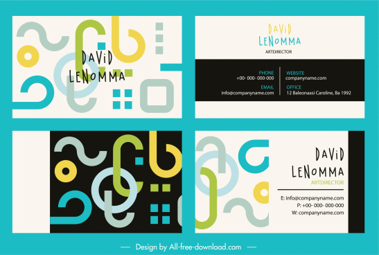 business card templates colorful abstract flat shapes decor