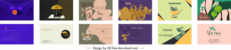 business card templates colorful classical decor
