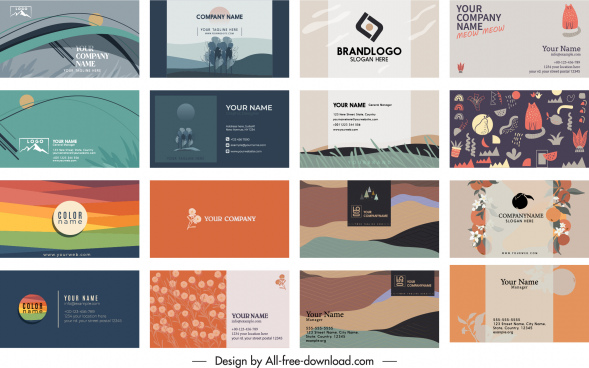business card templates colorful classical themes decor