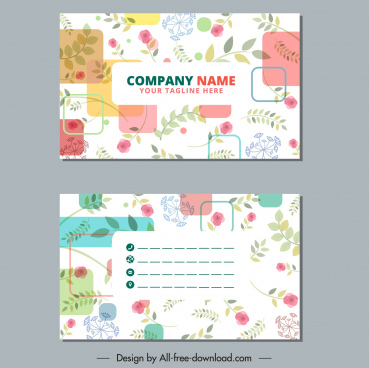 business card templates colorful flora leaf decor