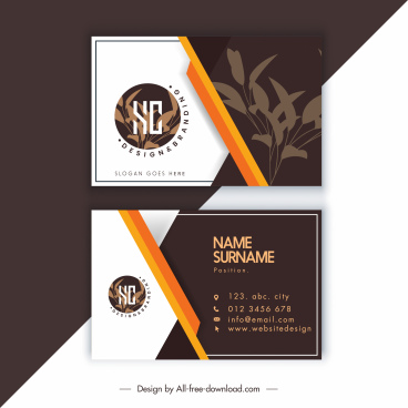 business card templates contrast design classic leaves decor