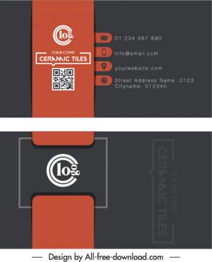 business card templates dark black red flat decor