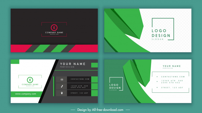 business card templates dark bright technology design