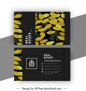 business card templates dark classic design leaves decor