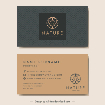 business card templates dark classic design tree sketch
