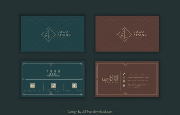business card templates dark elegant plain decor
