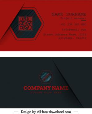 business card templates dark red black geometric logotype
