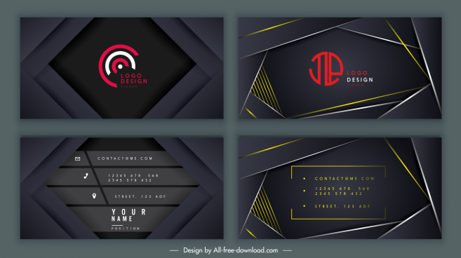 business card templates elegant black technology decor
