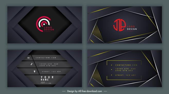 business card templates elegant black technology decor