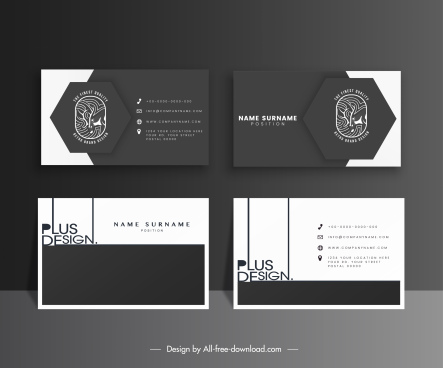 business card templates elegant black white flat decor