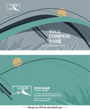 business card templates elegant classical grass curves sketch