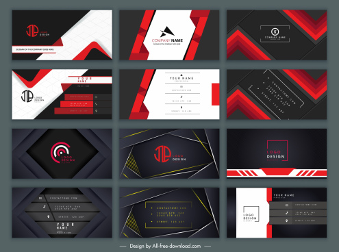 business card templates elegant dark black red decor