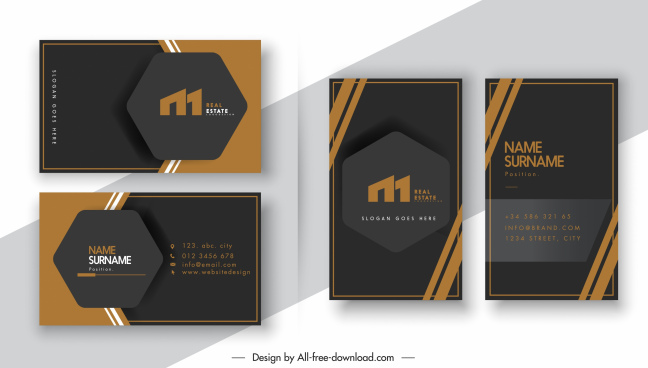 business card templates elegant dark design geometric tag