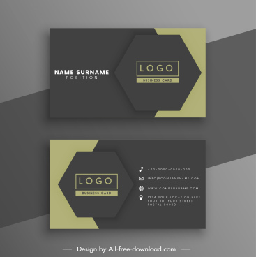 business card templates elegant dark design hexagonal decor