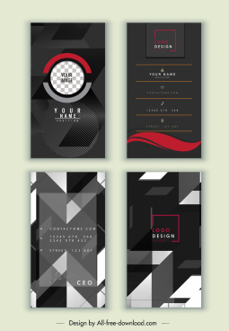 business card templates elegant dark geometric decor