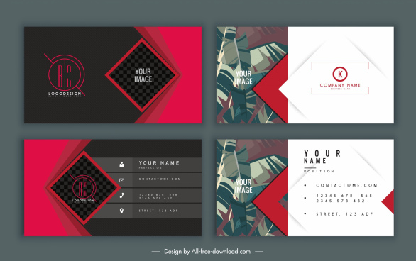 business card templates elegant design leaves geometric decor