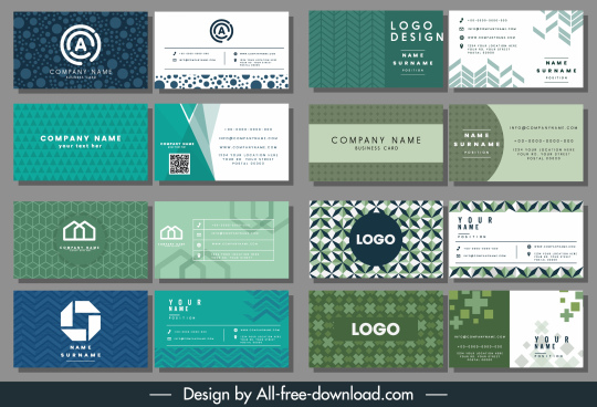 business card templates elegant flat abstract decor