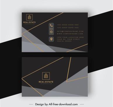 business card templates elegant luxury dark geometric decor
