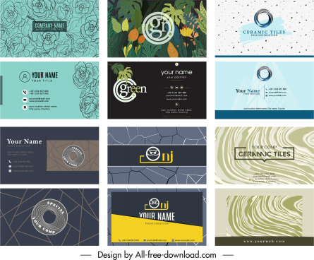 business card templates elegant nature abstract technology themes