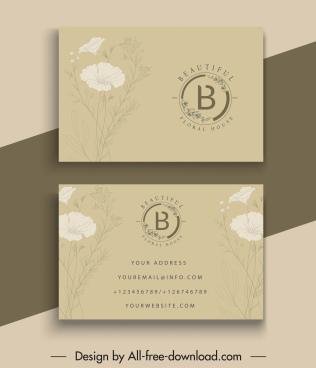business card templates elegant petals decor dark classic