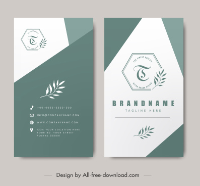 business card templates elegant simple flat leaf decor