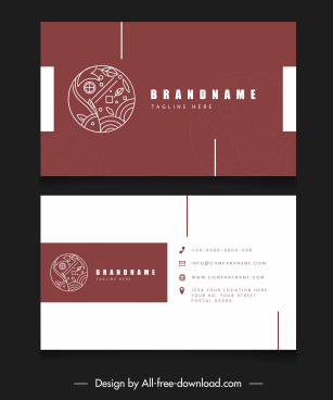 business card templates fish logotype plain flat decor