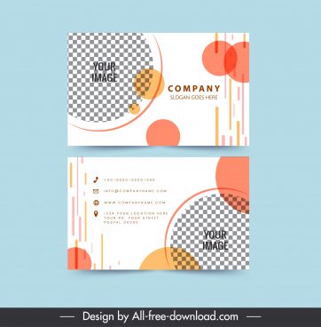 business card templates flat checkered circles decor